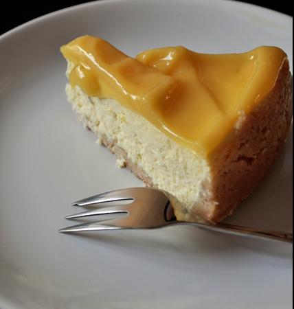 Cheesecake citron vert et vanille, passion curd
