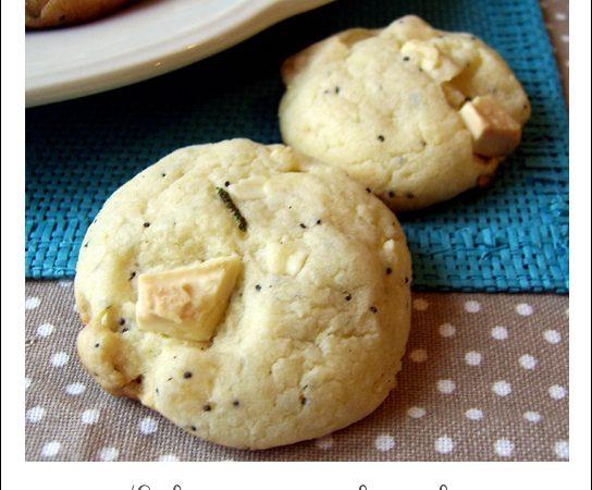Cookies au gingembre confit, chocolat blanc et citron vert